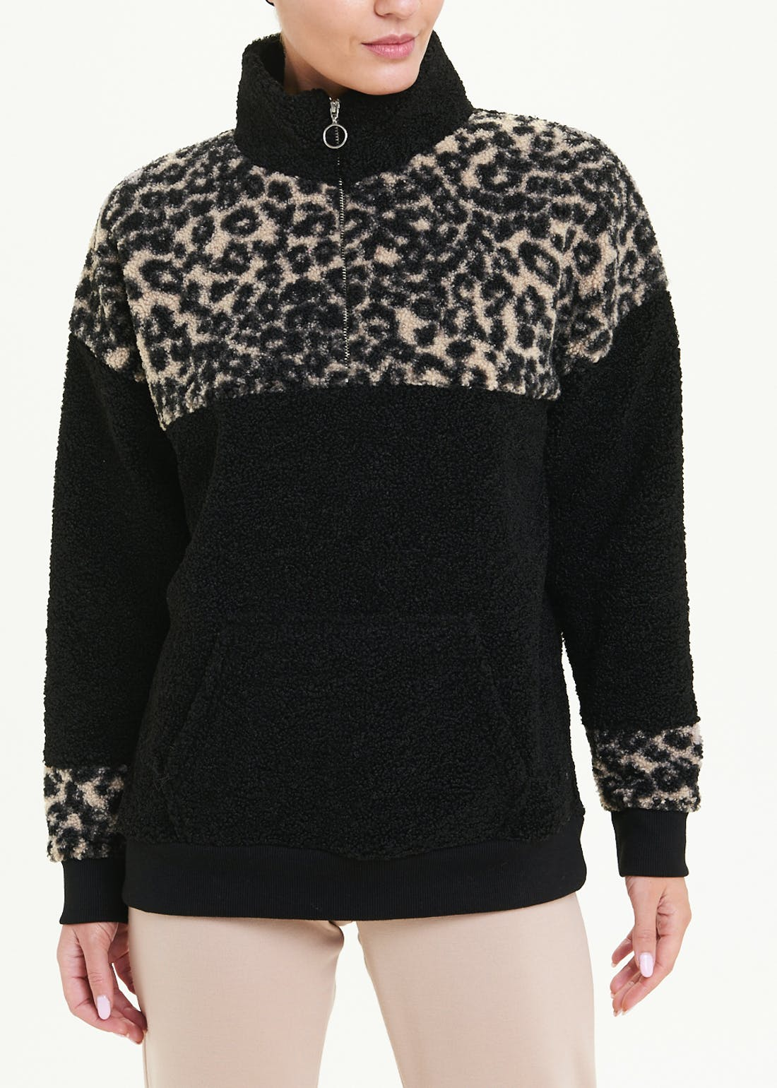 Teddy Fleece Animal Print Top