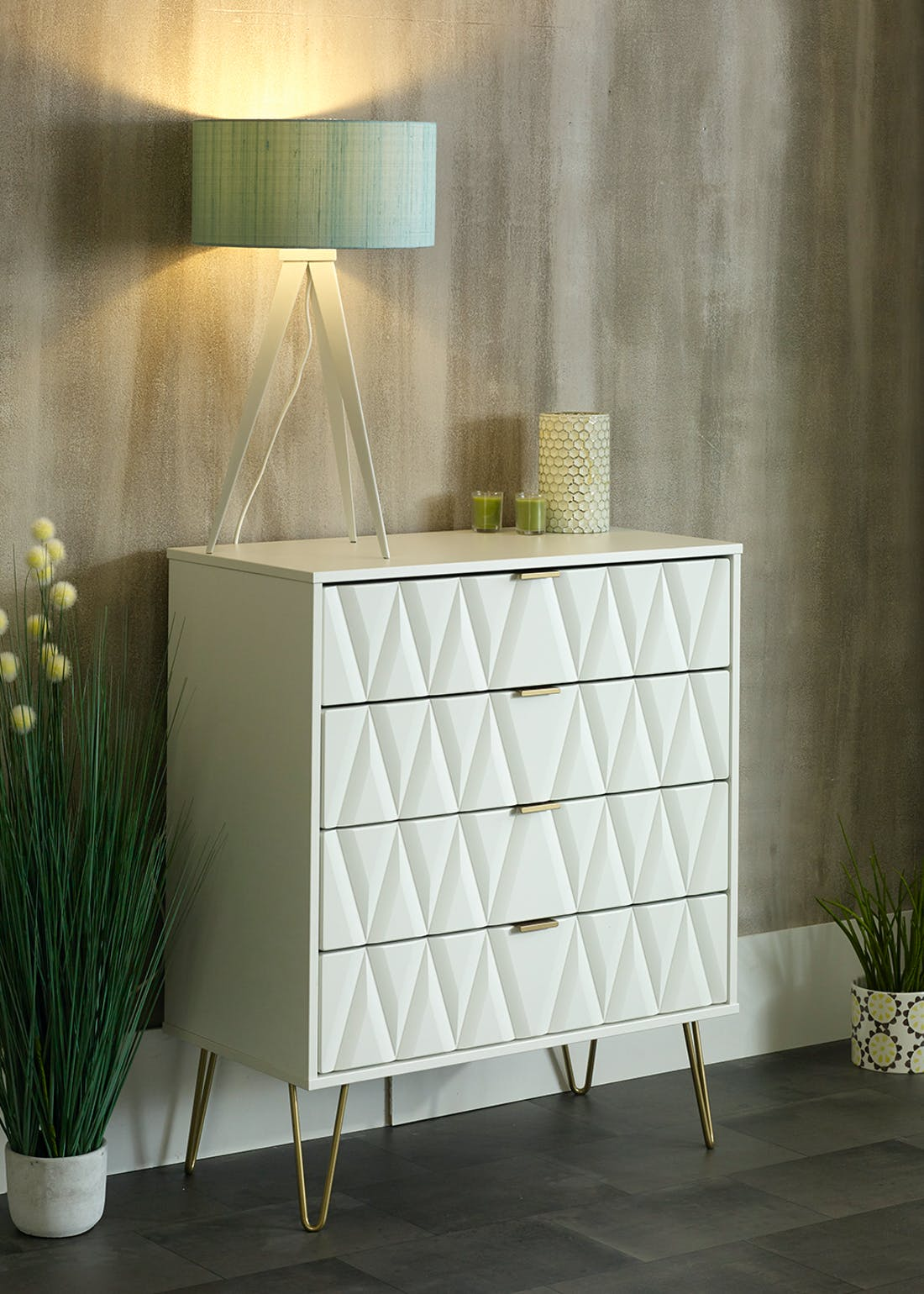 Swift Prism 1 Drawer Bedside Table (41cm x 45cm x 39.5cm)
