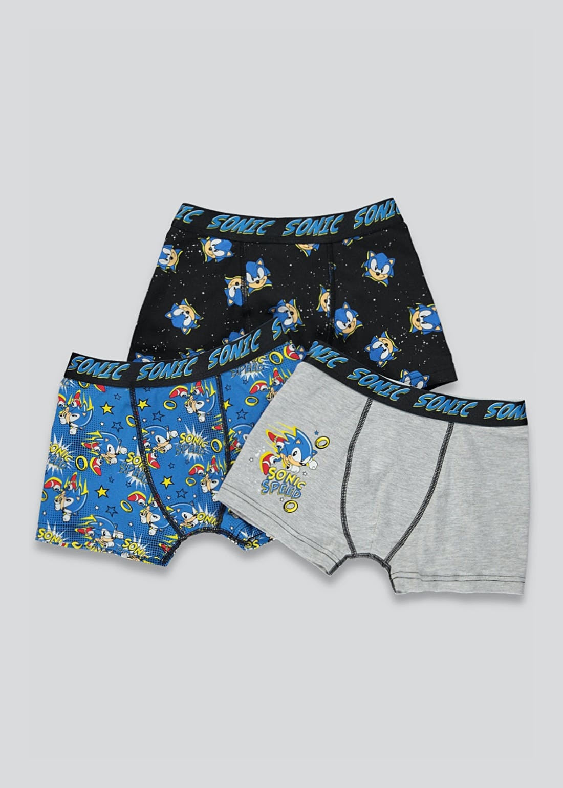 Boys 3 Pack Sonic the Hedgehog Trunks (4-11yrs)