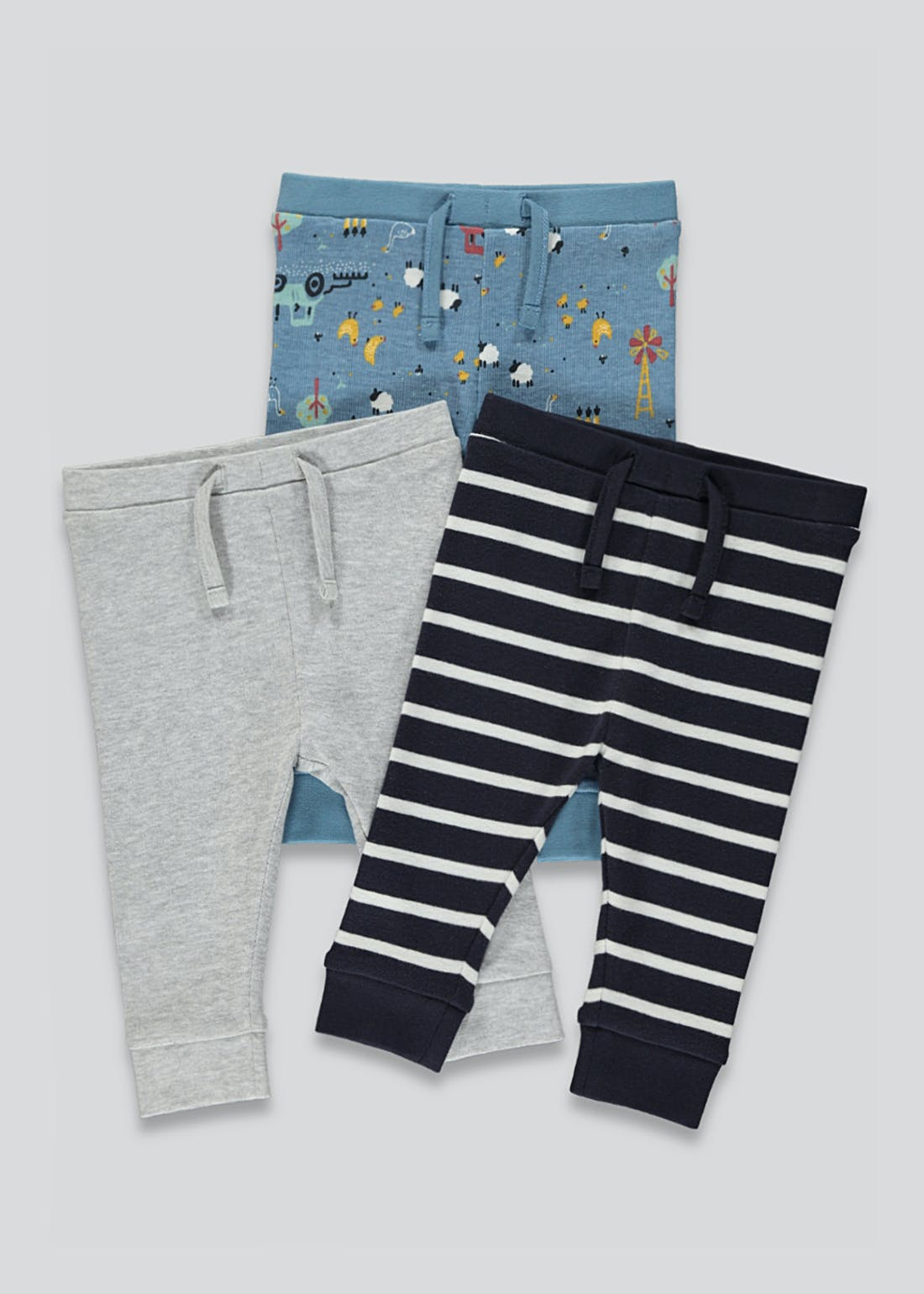 Unisex 3 Pack Joggers (Tiny Baby-23mths)
