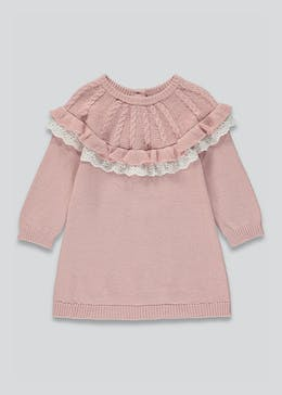 Girls Lace Frill Knitted Dress (Tiny Baby-23mths)