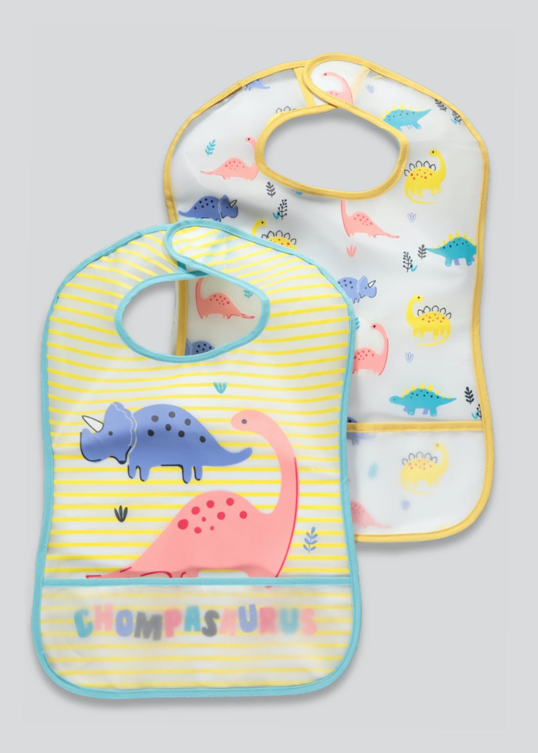 2 Pack Dinosaur Bibs (One Size)
