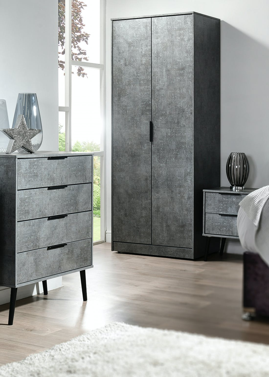 Swift Milano 2 Door 2 Drawer Wardrobe (201.5cm x 76.5cm x 53cm)