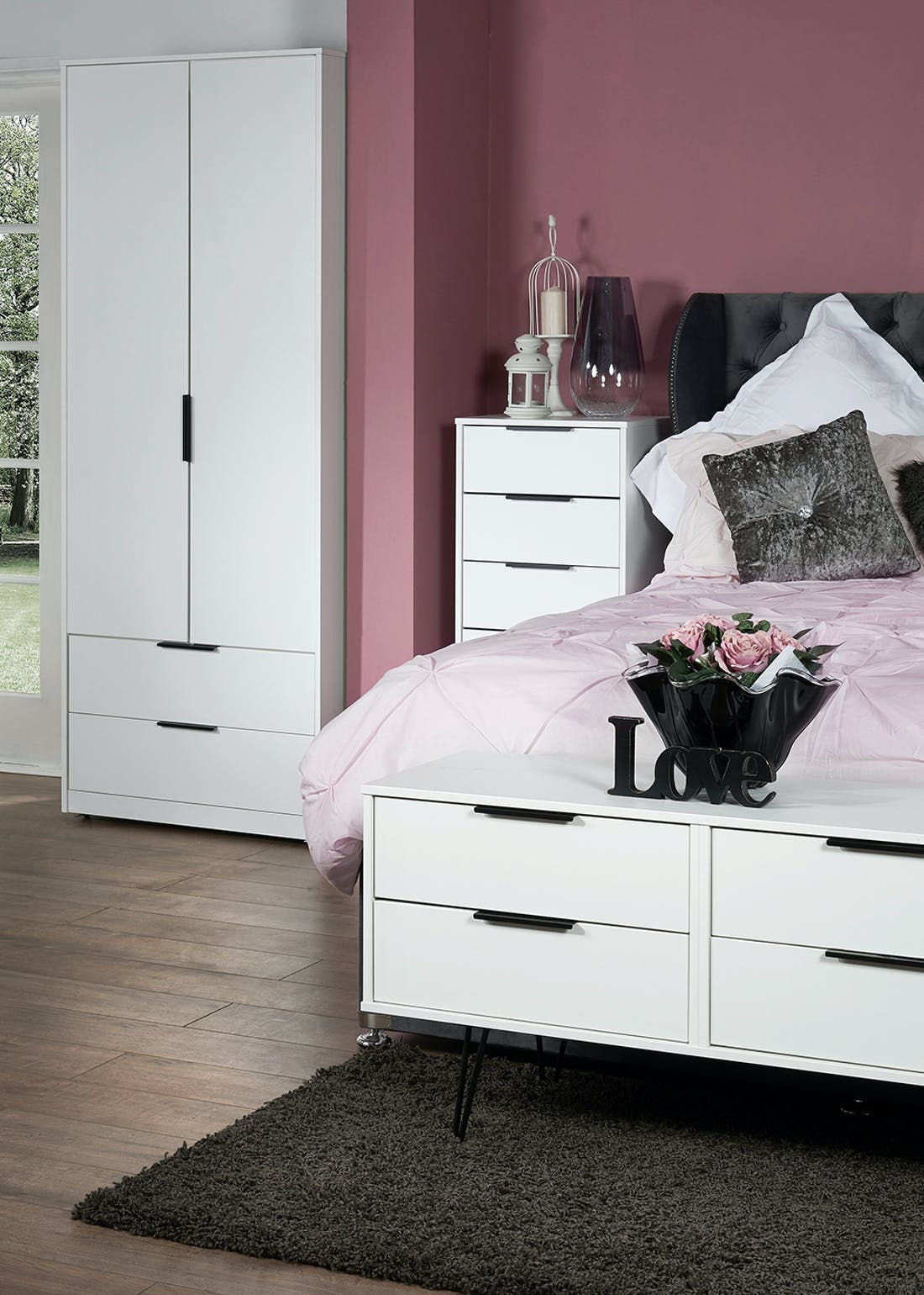 Swift Milano 1 Drawer Bedside Table (41cm x 45cm x 39.5cm)