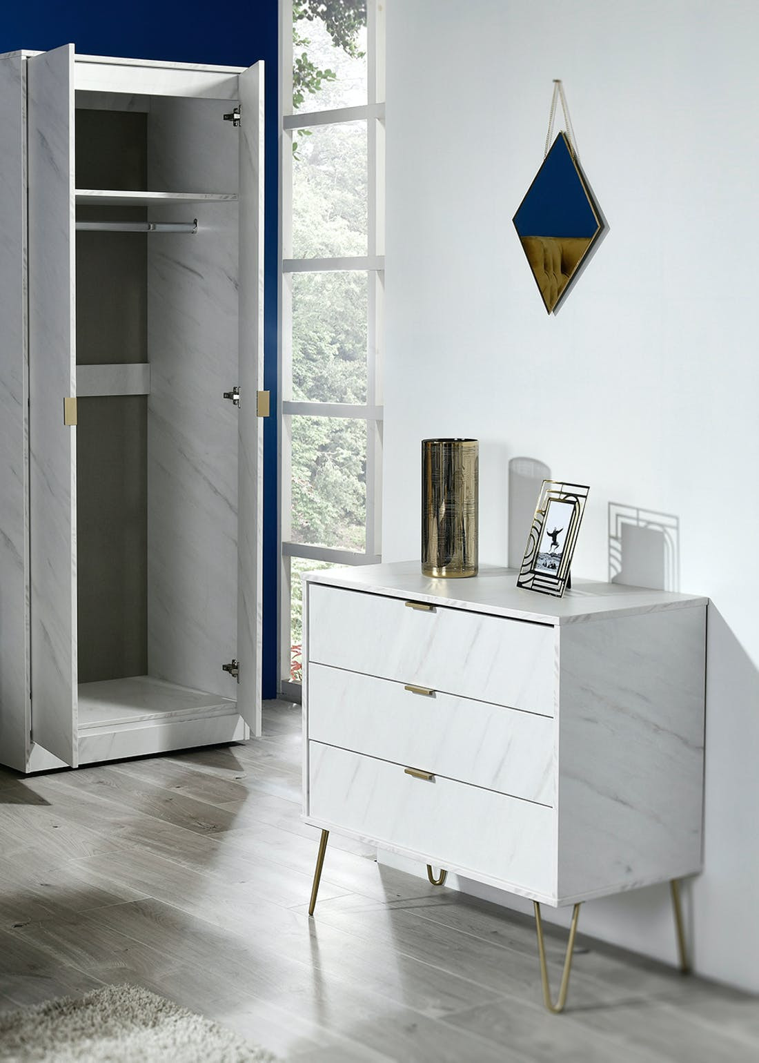 Swift Milano 1 Drawer Bedside Table (41cm x 57.5cm x 39.5cm)