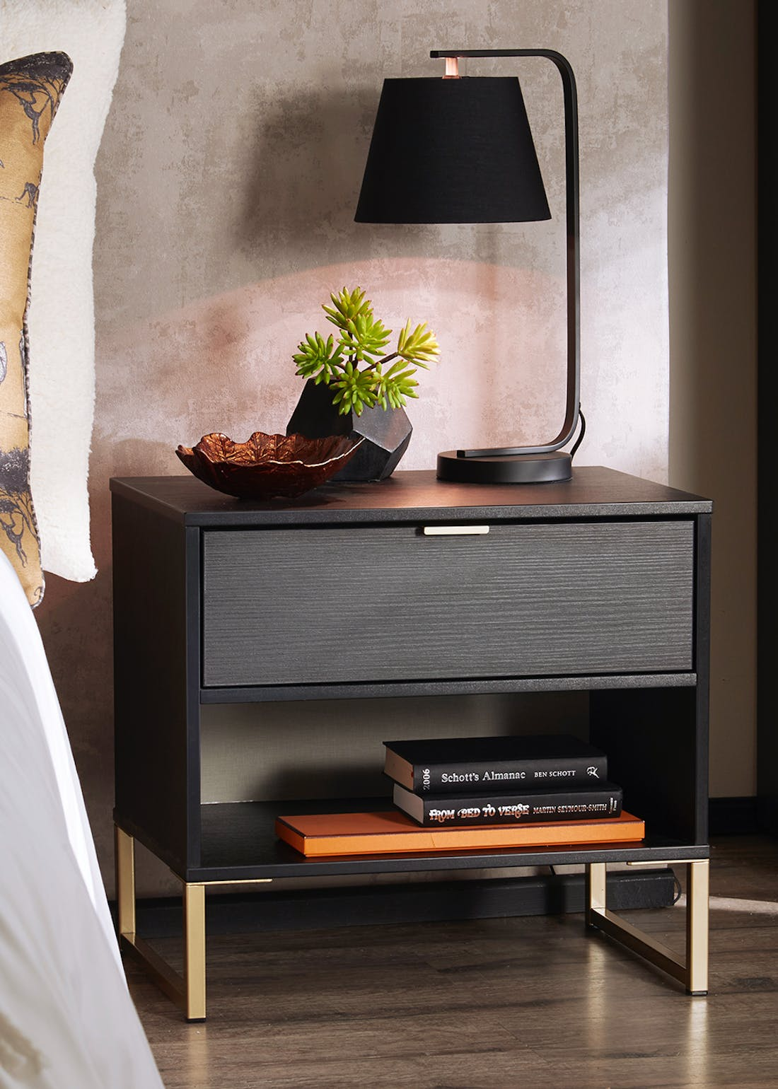 Swift Cordoba 2 Drawer Bedside Table (54cm x 57.5cm x 39.5cm)