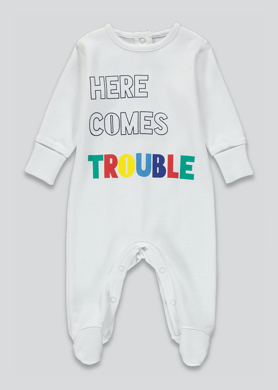 Unisex Here Comes Trouble Baby Grow (Tiny Baby-23mths)