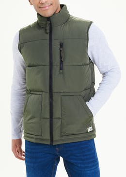 Khaki Padded Funnel Neck Gilet