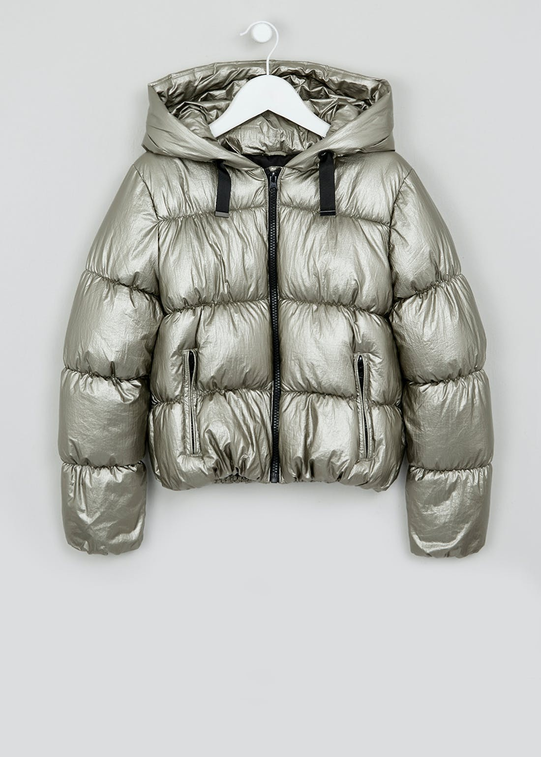 Girls Candy Couture Silver Puffer Jacket (9-16yrs)