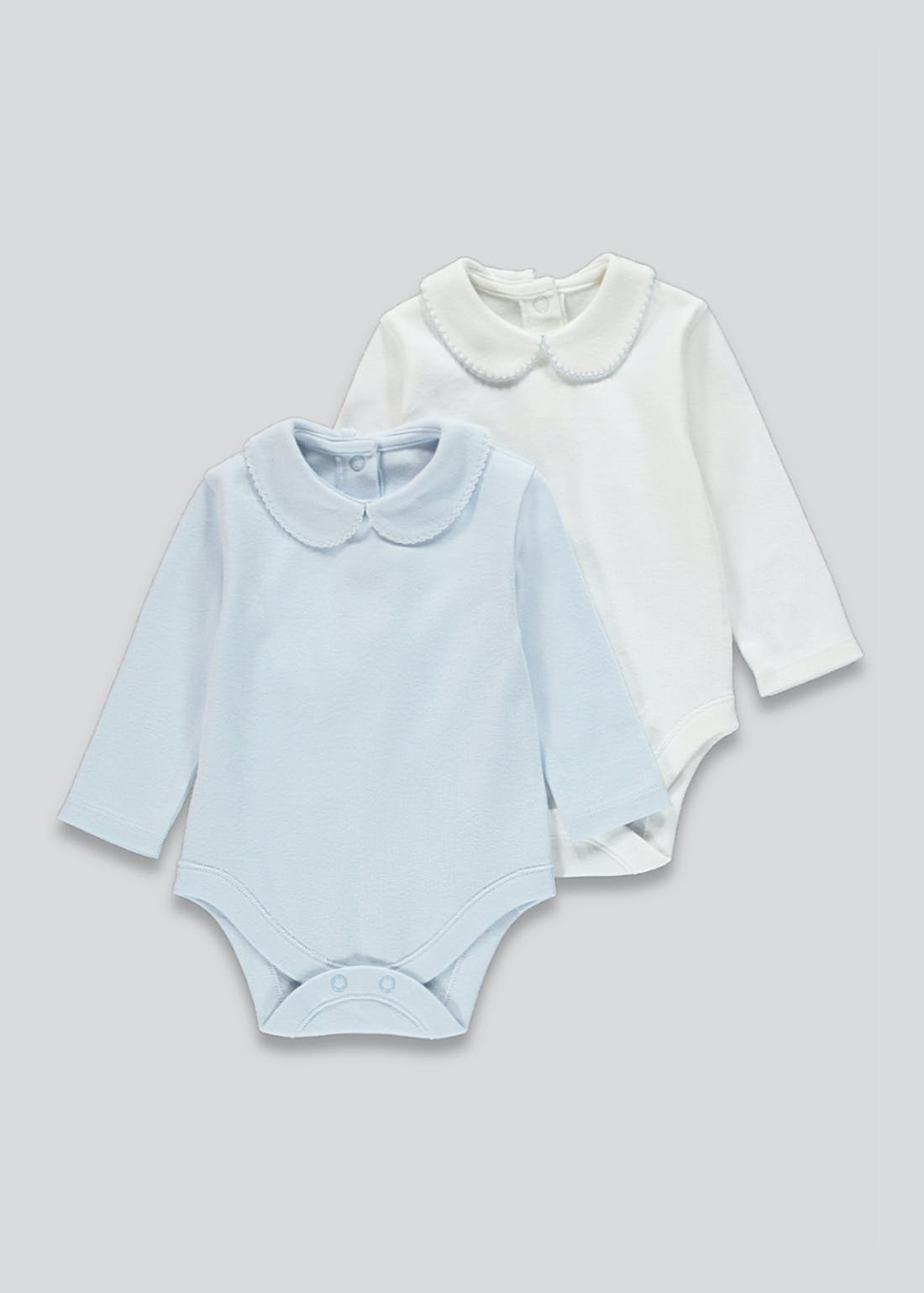 Unisex 2 Pack Peter Pan Collar Bodysuits (Tiny Baby-18mths)