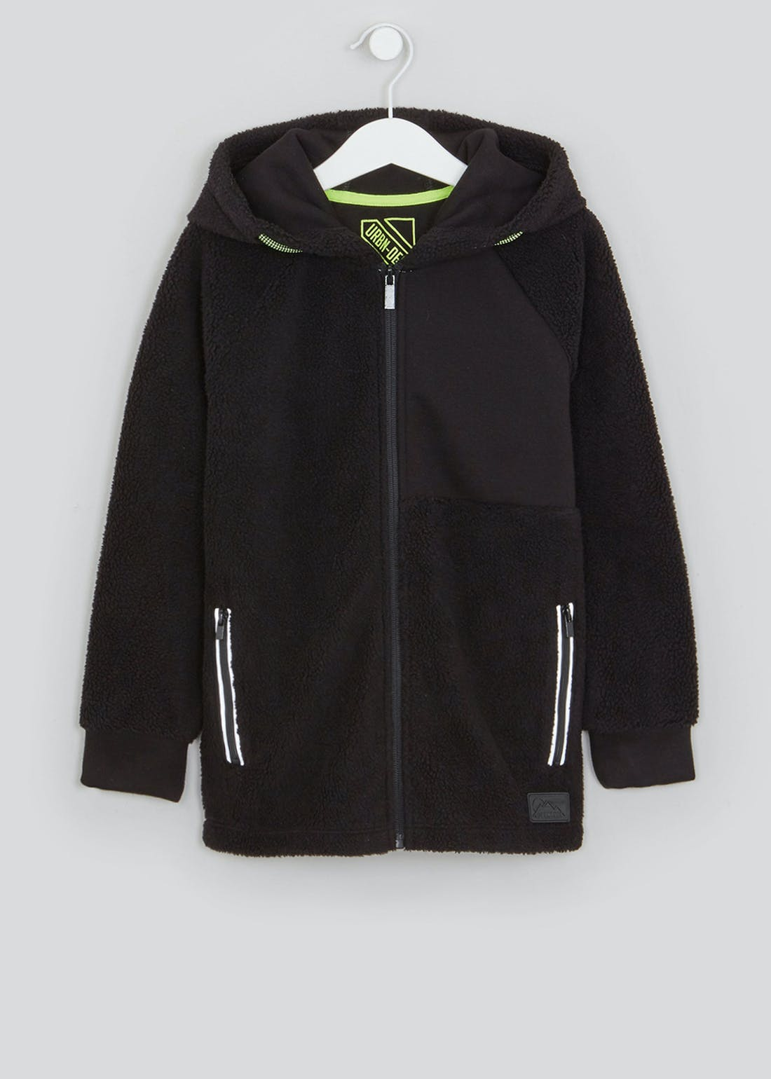 Boys Black Hooded Fleece Jacket (4-13yrs)