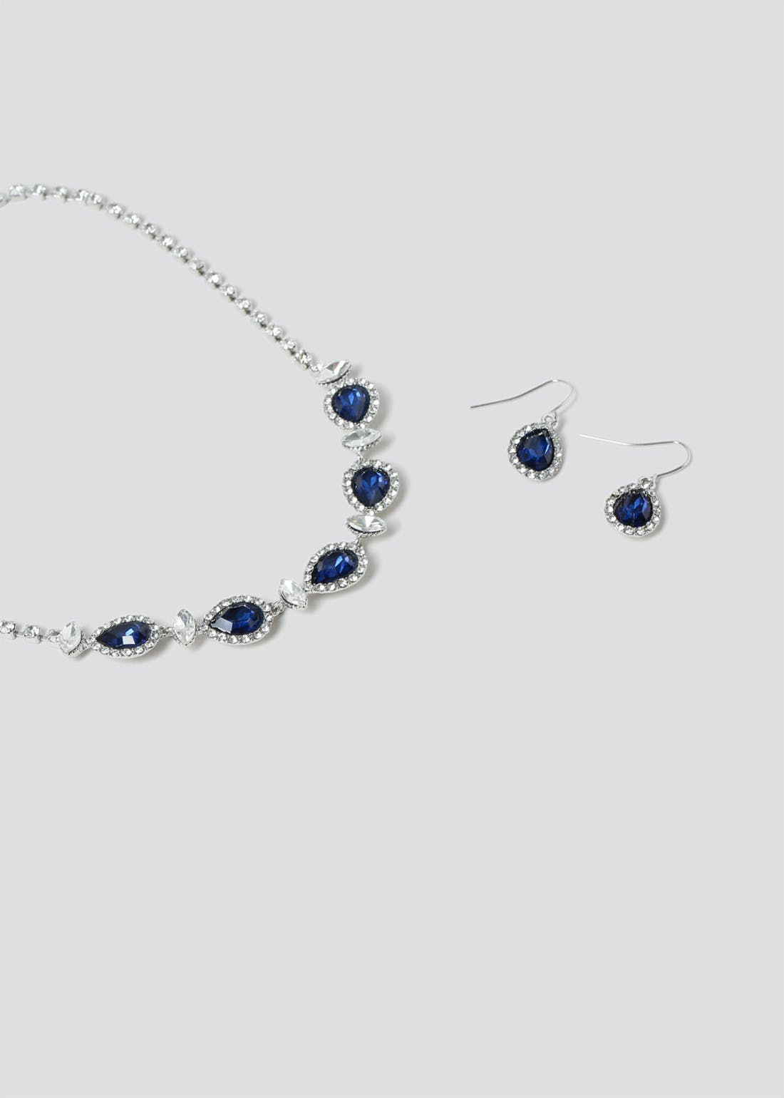 Rhinestone Cup chain Earring & Necklace Set.