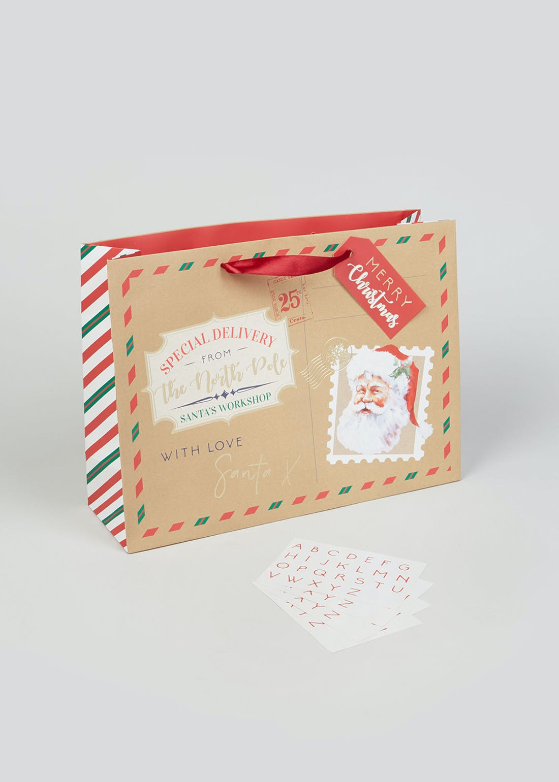 Christmas Gift Bag with Name Stickers (37cm x 27.5cm x 12cm)