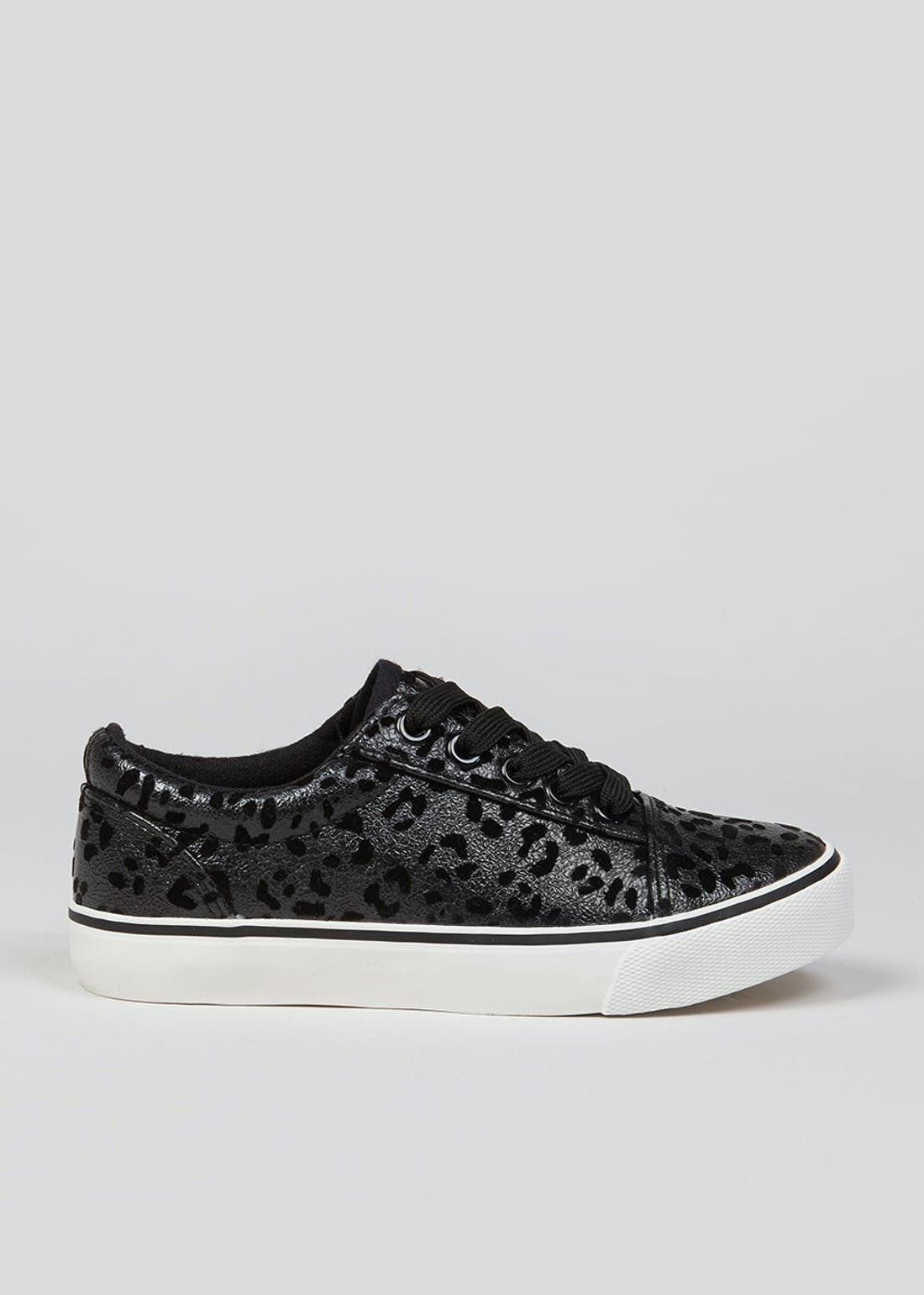 Girls Black Leopard Print Trainers (Younger 10-Older 5)