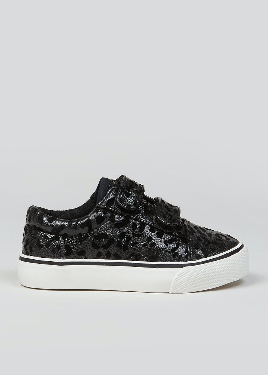 Girls Black Leopard Print Riptape Trainers (Younger 4-12)