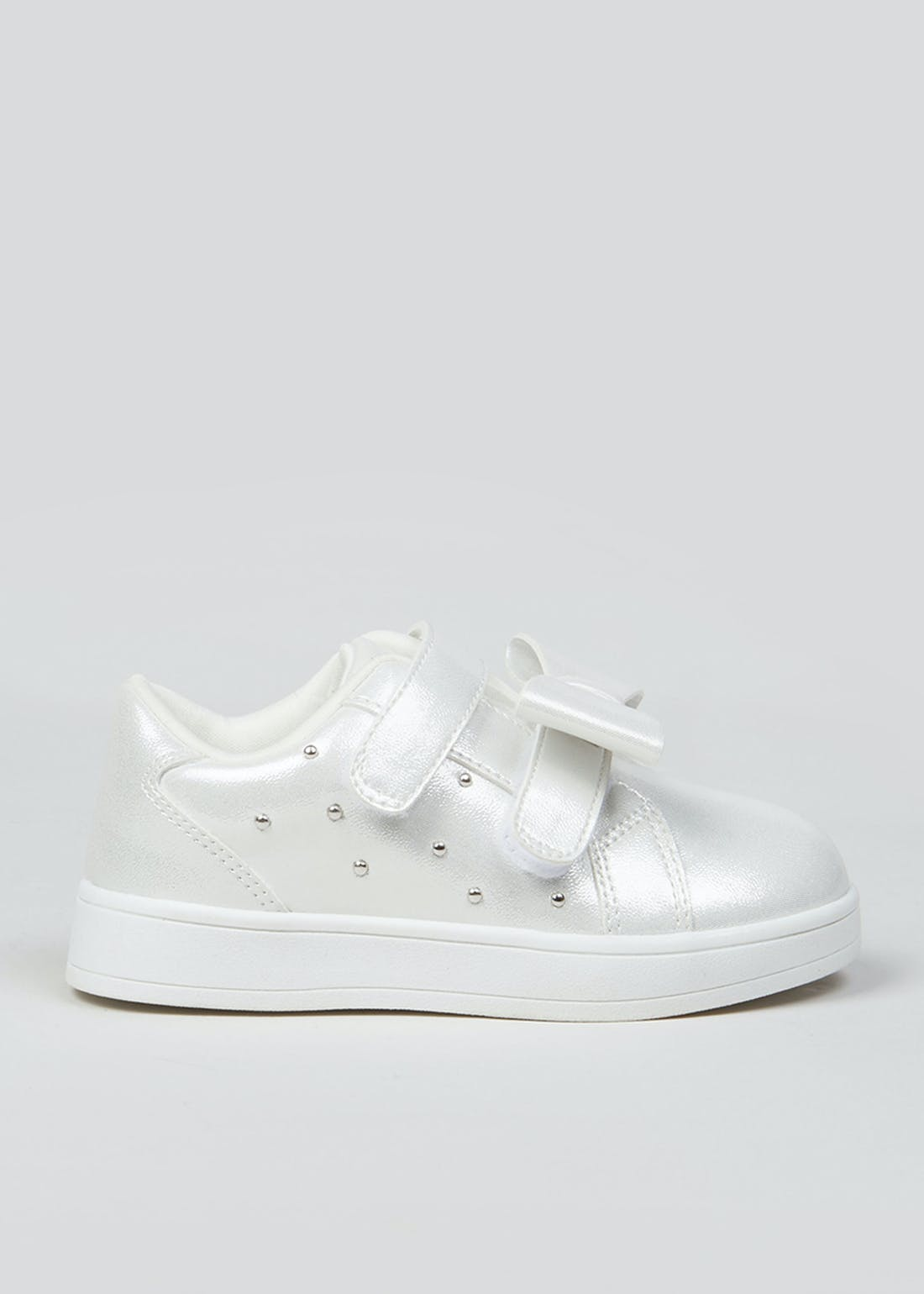 Girls White Bow Trainers (Younger 4-12)