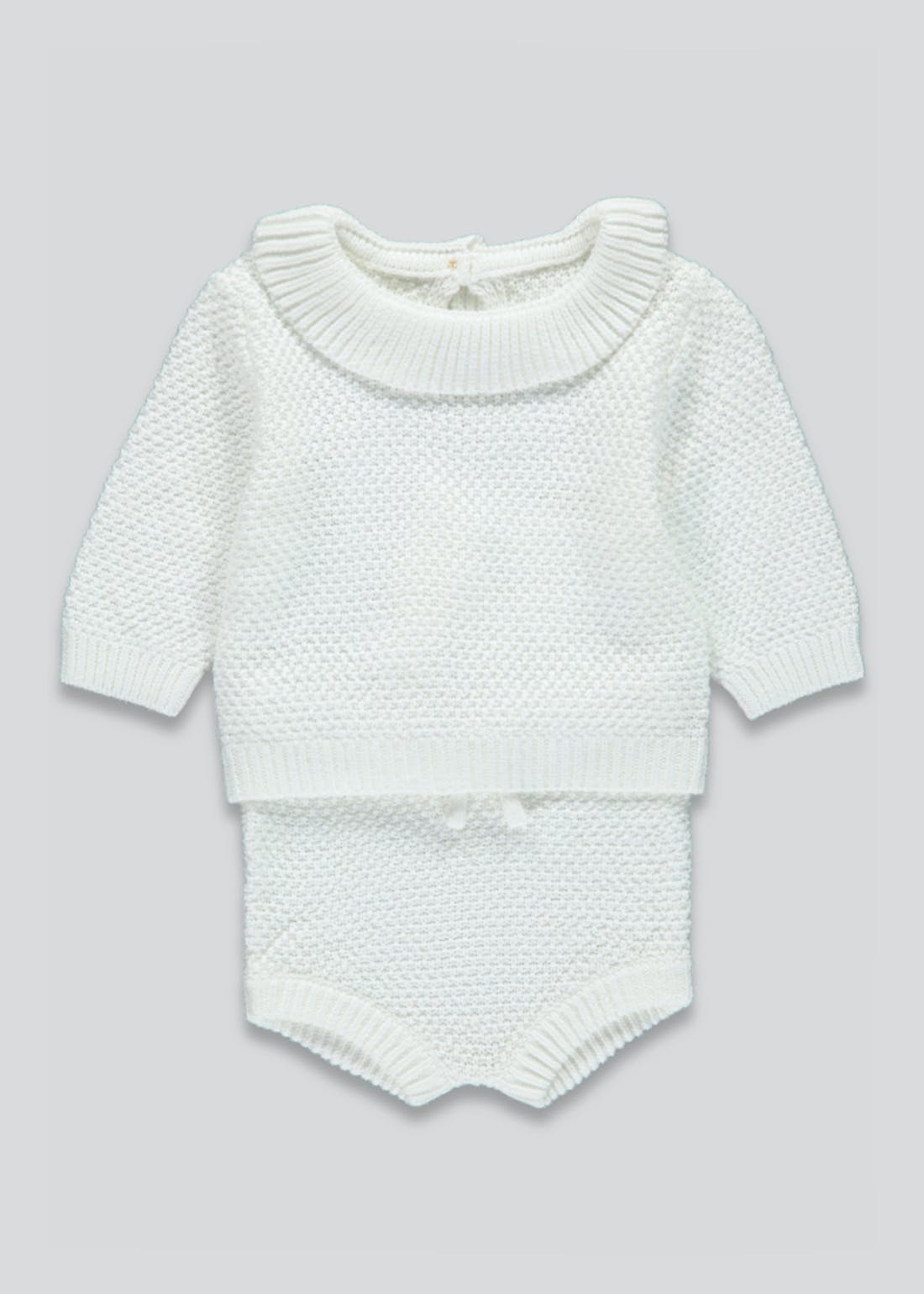 Unisex Knitted Frill Neck Set (Tiny Baby-23mths)