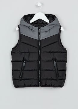 Boys Black Padded Hooded Gilet (4-13yrs)