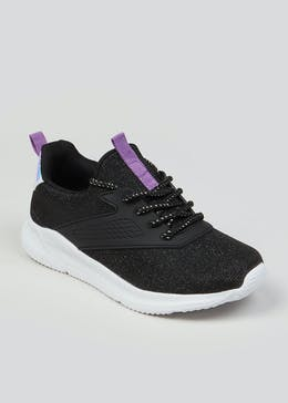 Girls Souluxe Black Glitter Trainers