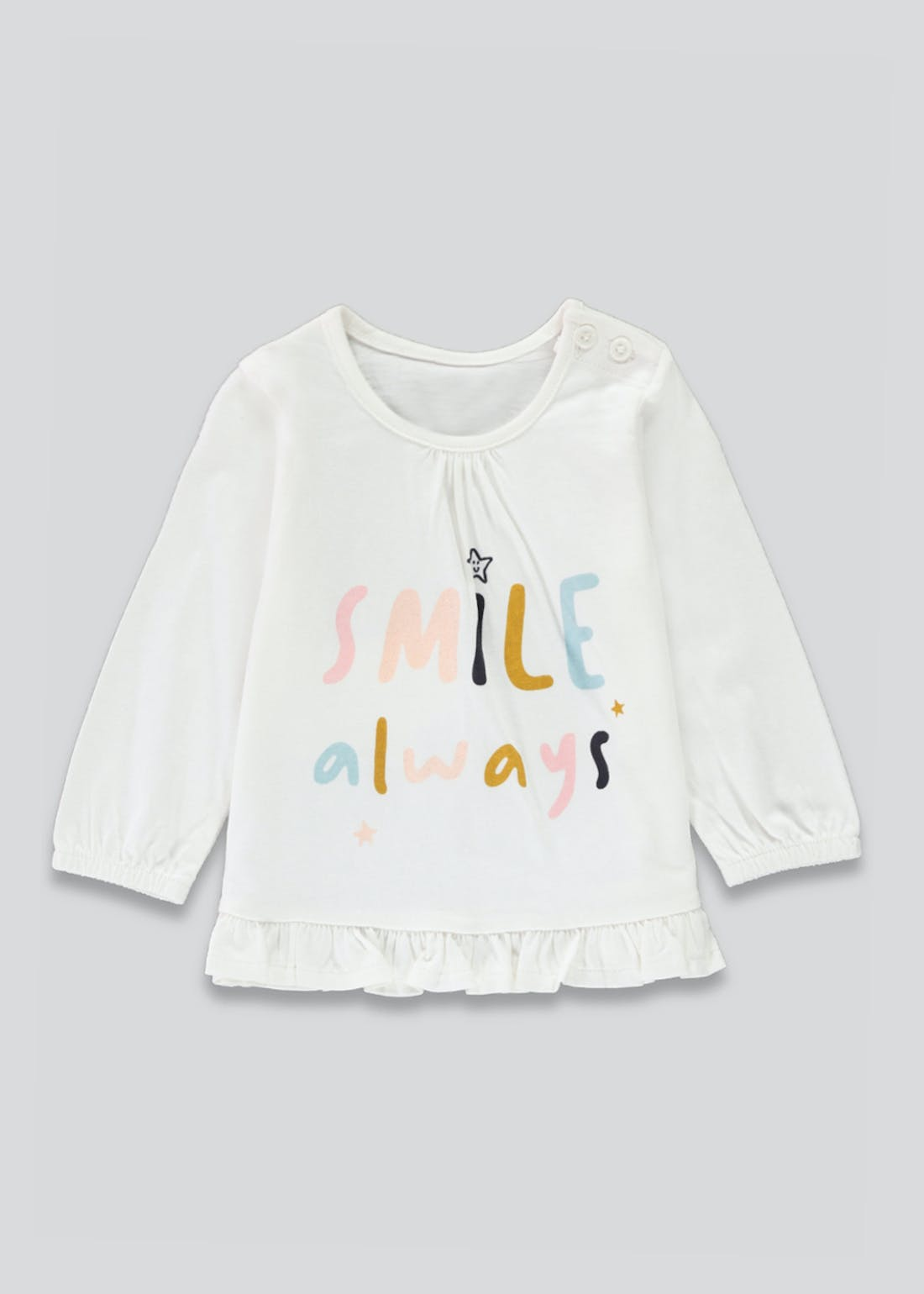 Girls Long Sleeve Smile Always T-Shirt (Newborn-23mths)