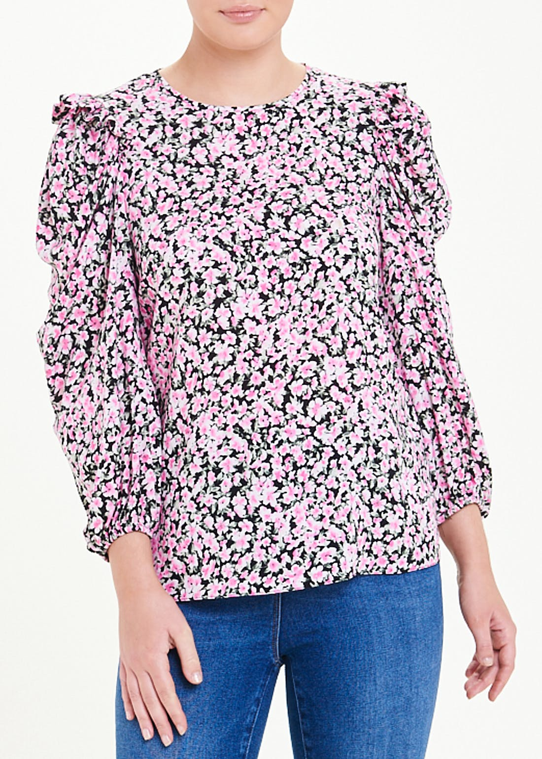3/4 Sleeve Floral Ruched Top