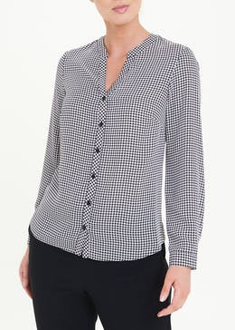 Long Sleeve Dogtooth Printed Blouse