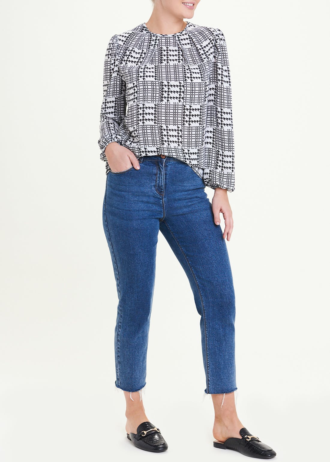 Dogtooth Check Pleat Front Blouse