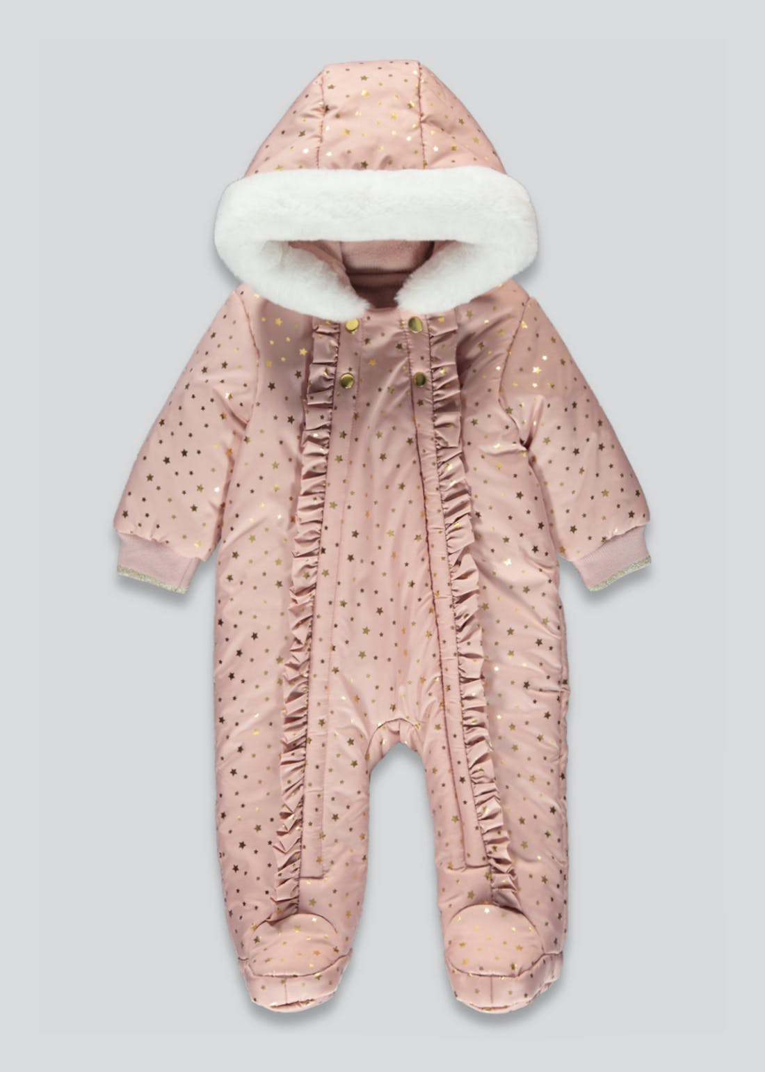 Girls Pink Foil Printed Snowsuit (Tiny Baby-18mths)