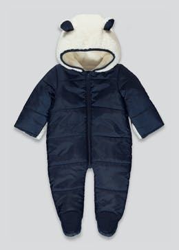 Unisex Navy Quilted Snowsuit (Tiny Baby-18mths)