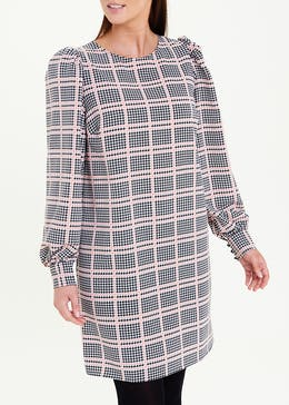 Check Puff Sleeve Shift Dress