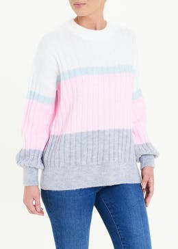 Ribbed Colour Block Jumper