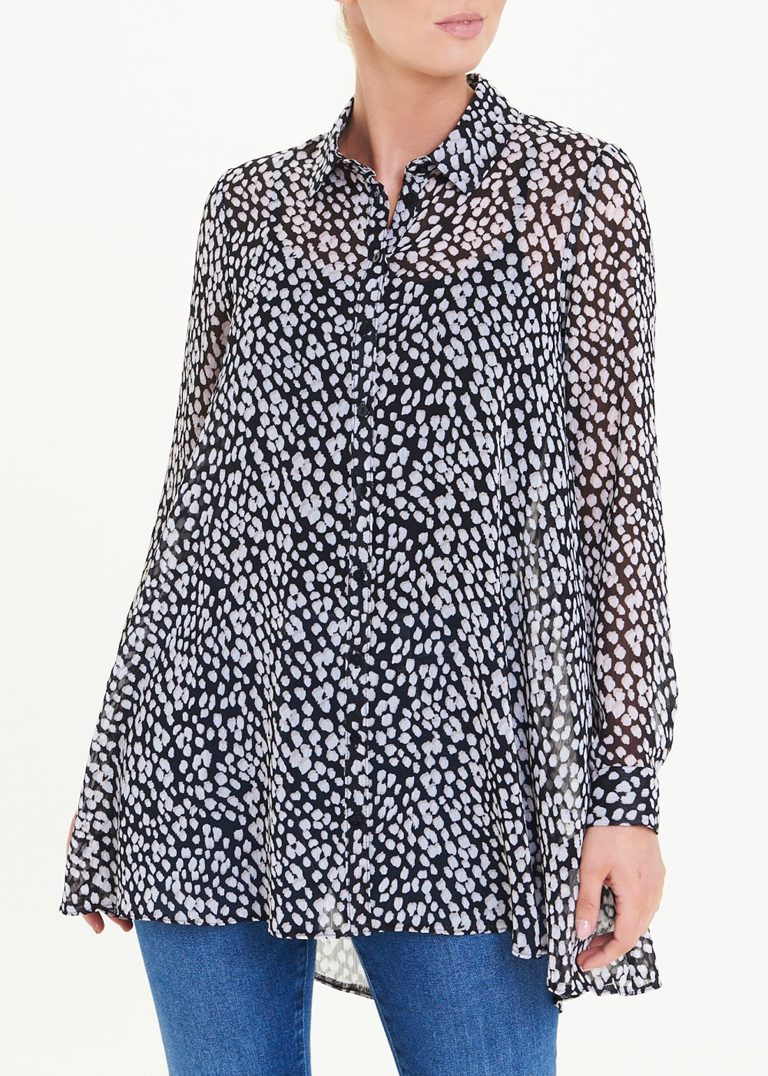 Black Long Sleeve Longline Printed Shirt
