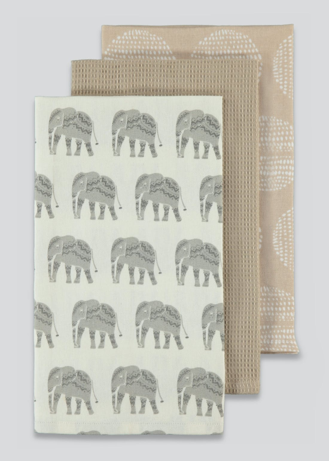 3 Pack Elephant Print Tea Towels (65cm x 40cm)