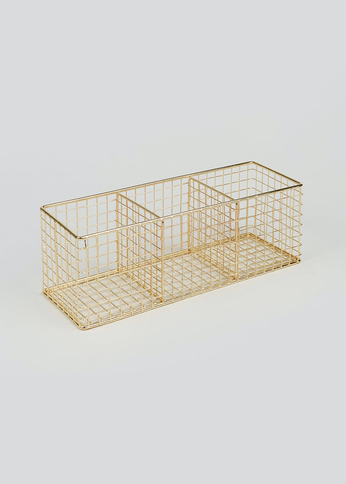 Gold Wire Storage Basket (29cm x 10cm x 10cm)