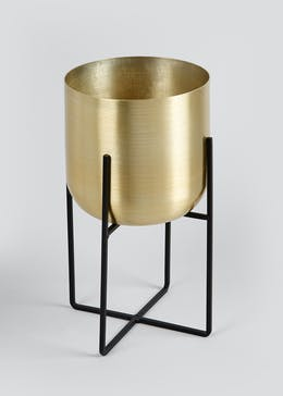 Gold Brushed Metal Small Planter (33cm x 18cm x 18cm)
