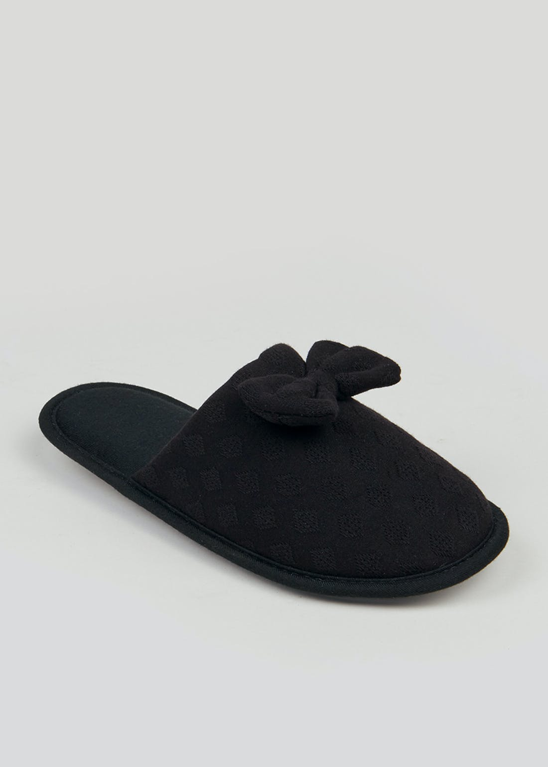 Black Bow Spotted Mule Slippers