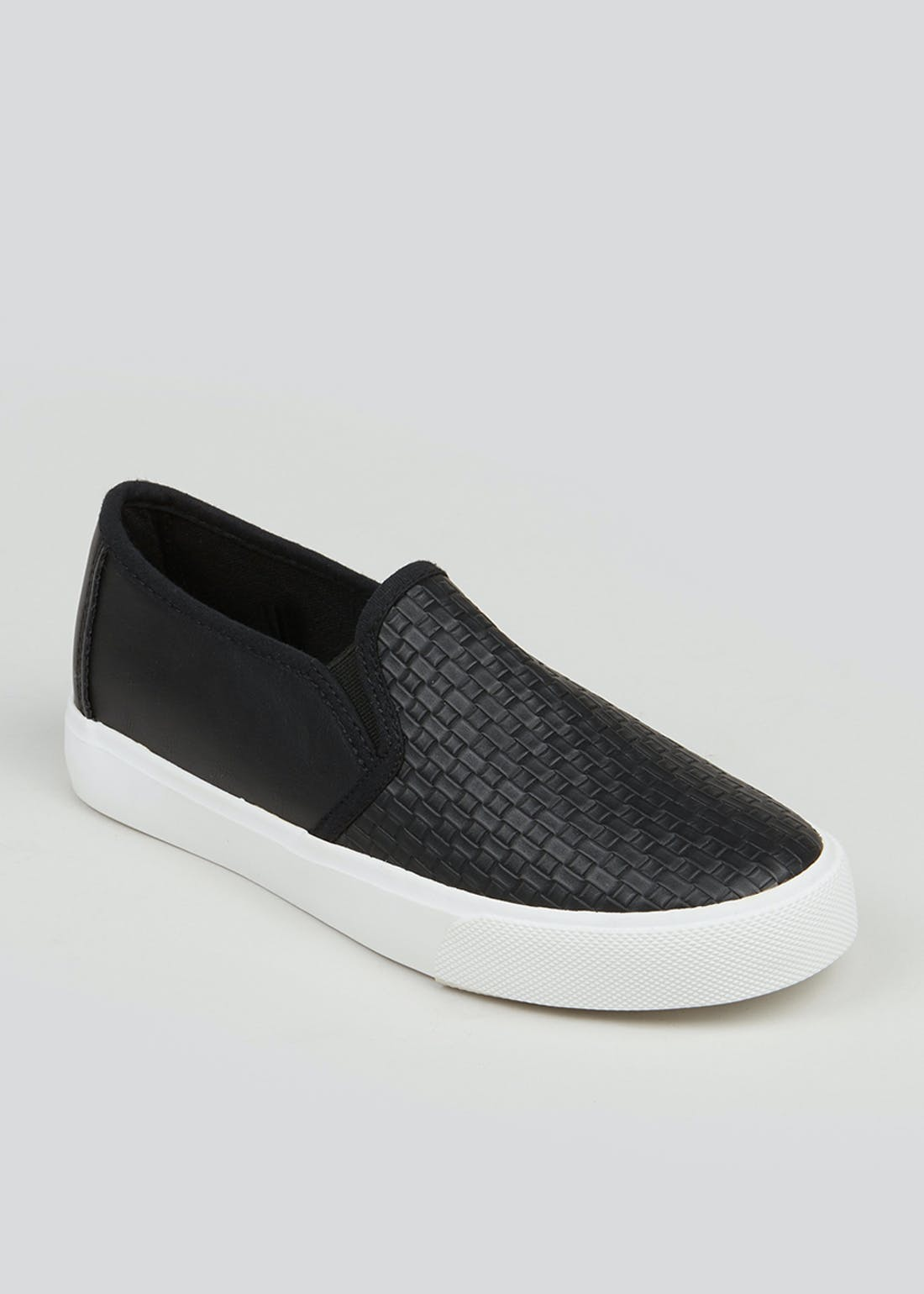 Black Woven Slip On Trainers