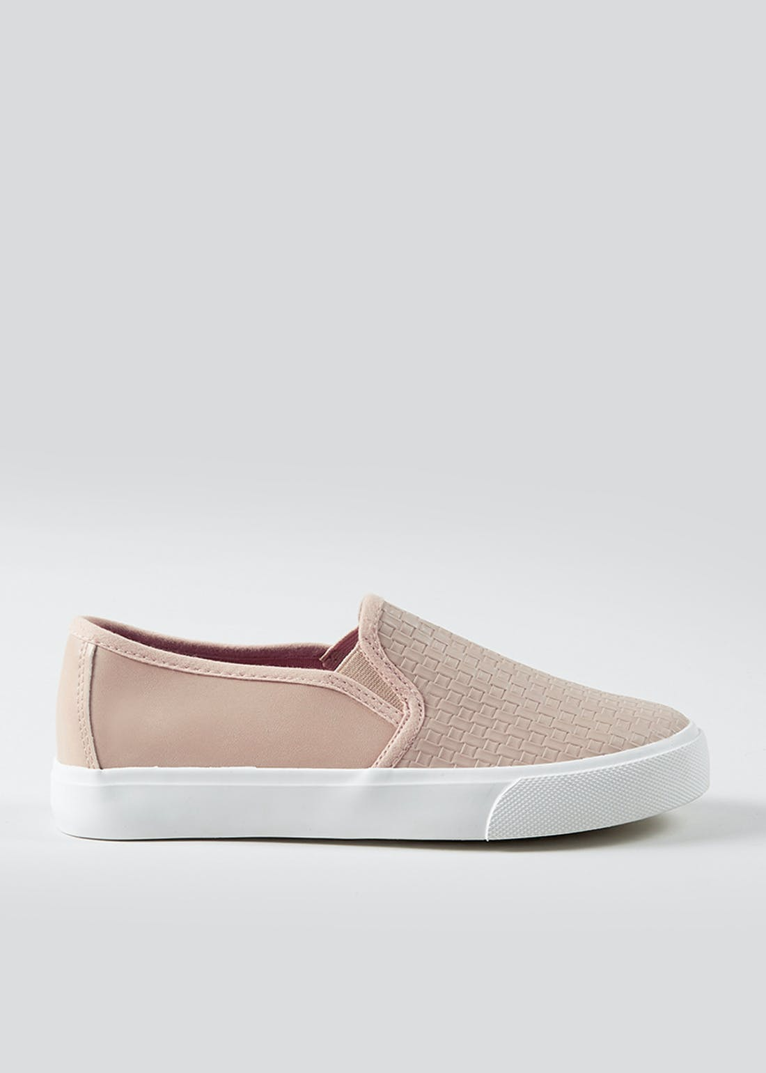 Nude Woven Slip On Trainers