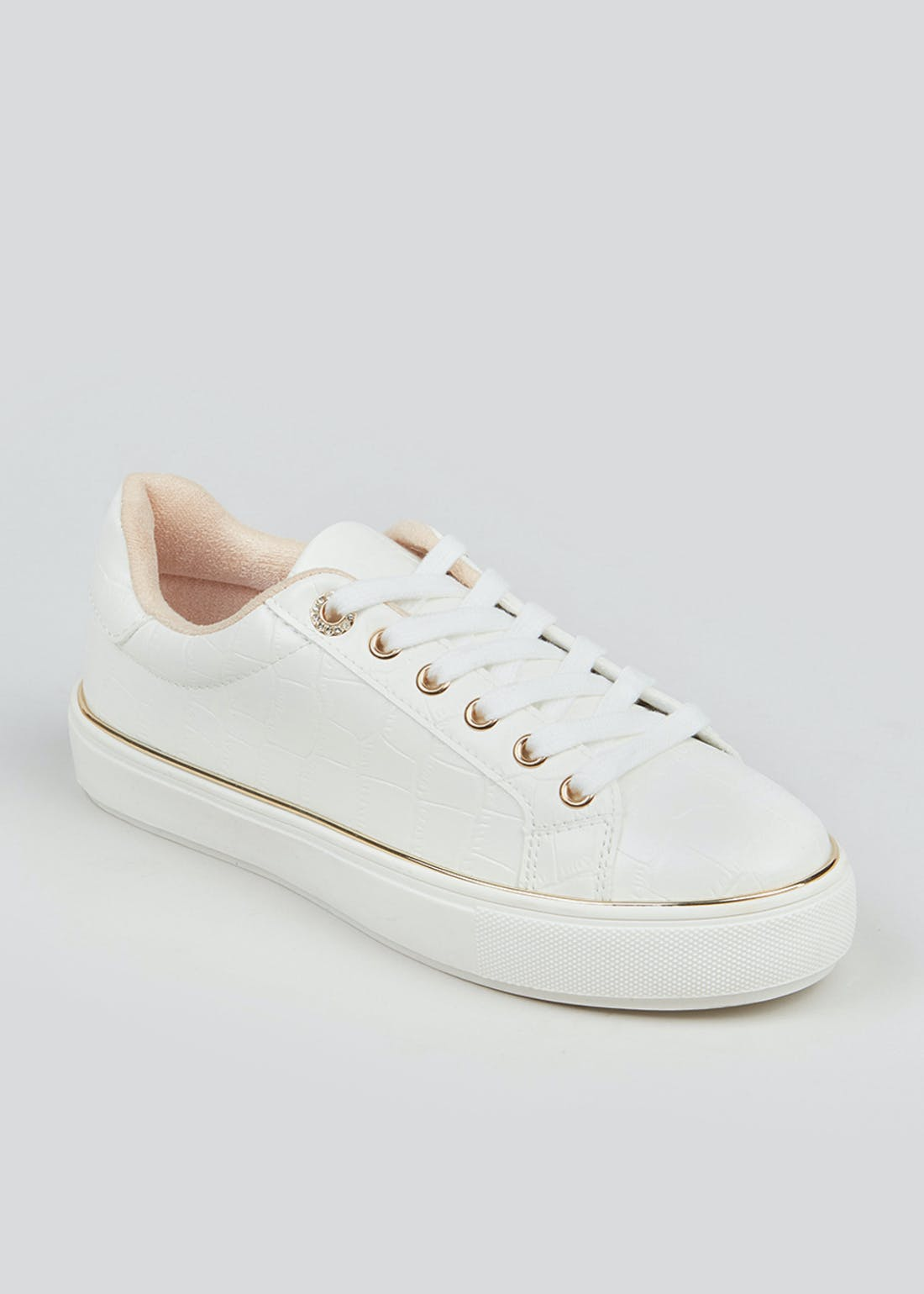 White Faux Leather Lace Up Trainers