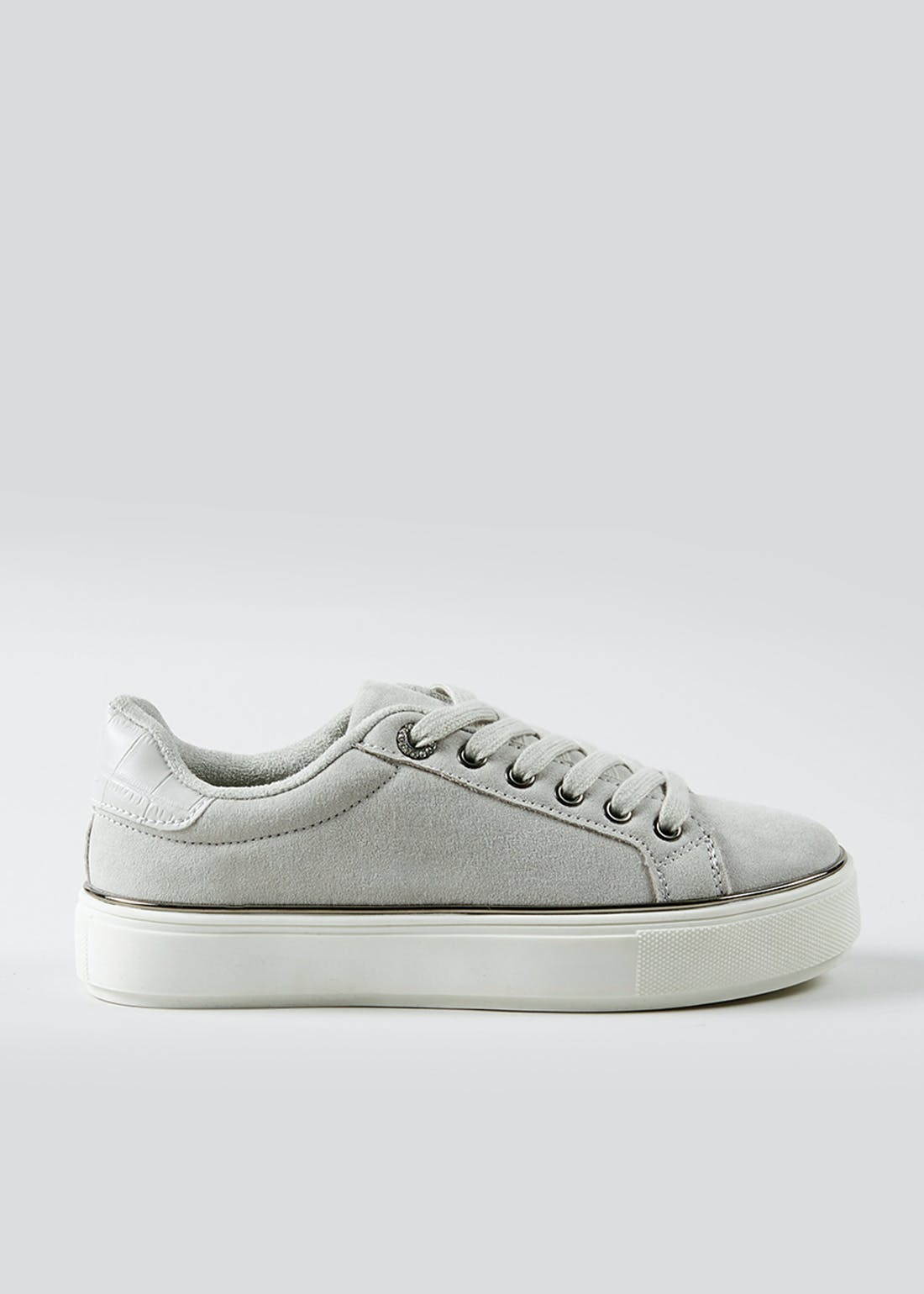 Grey Faux Suede Lace Up Trainers
