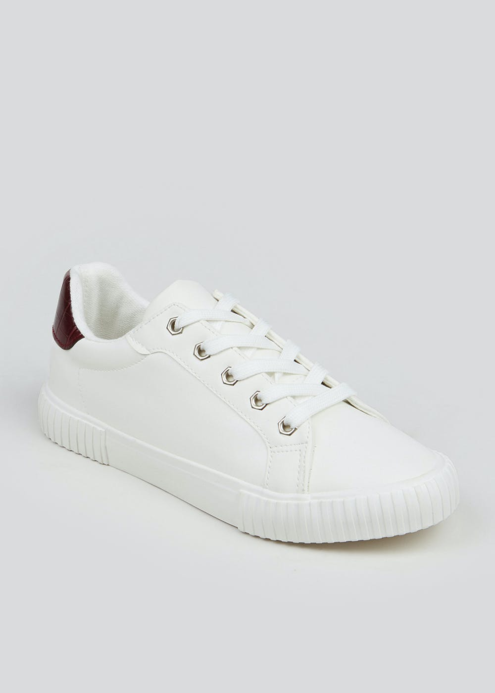 White Lace Up Trainers – White