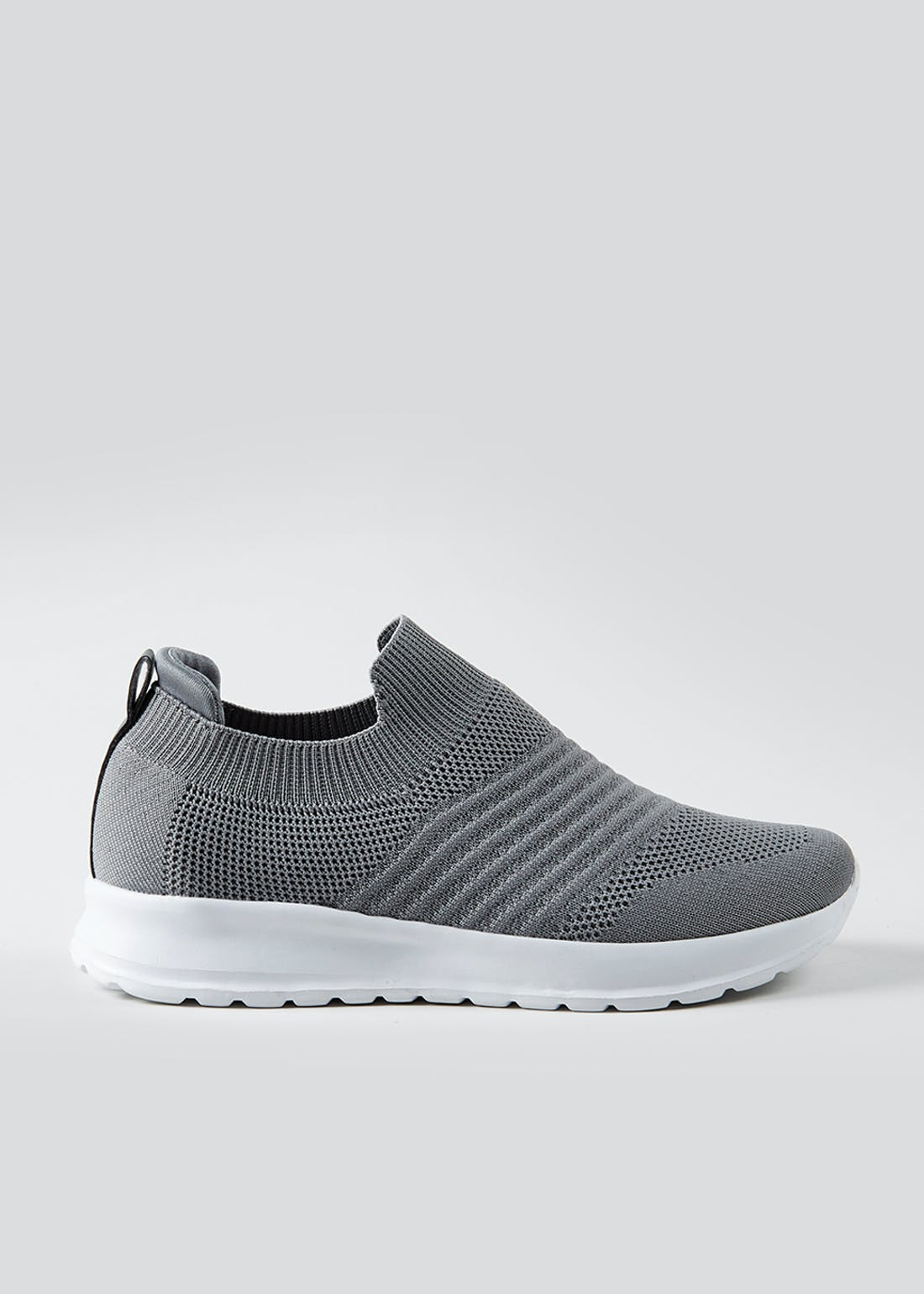 Grey Stripe Slip On Trainers