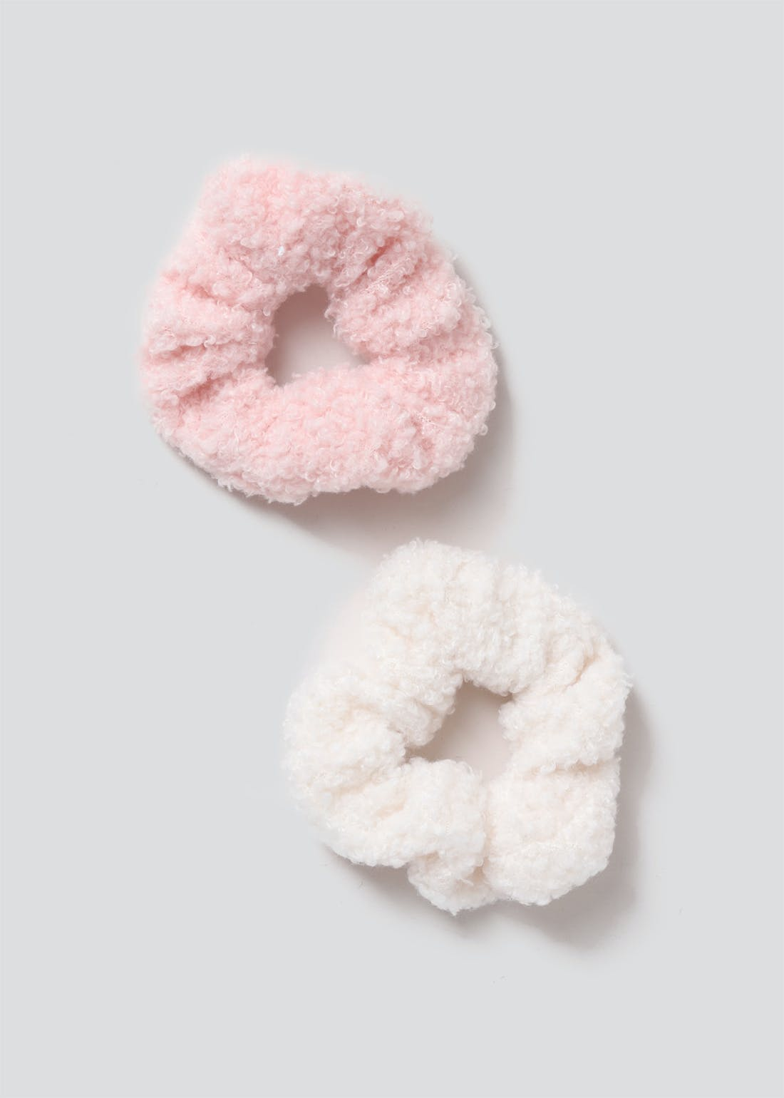 Girls 2 Pack Faux Teddy Fur Scrunchies