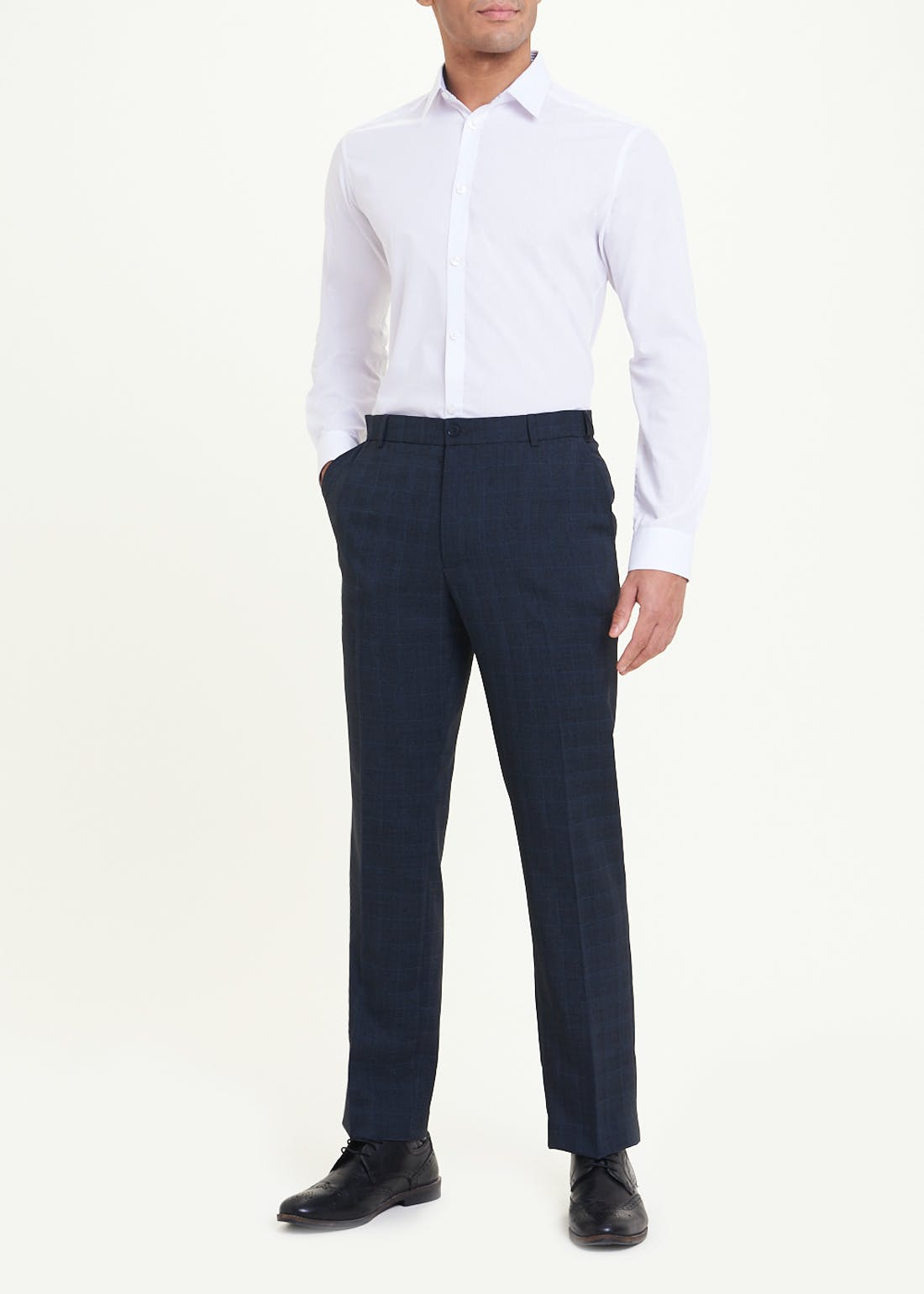 Taylor & Wright Slim Fit Check Flexi Waist Trousers