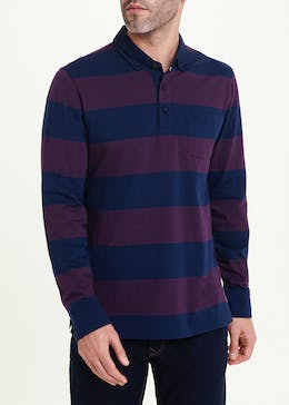 Lincoln Long Sleeve Stripe Polo Shirt