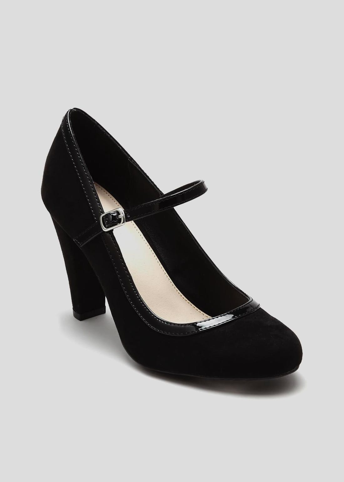 Wide Fit Black Mary Jane Court Shoes