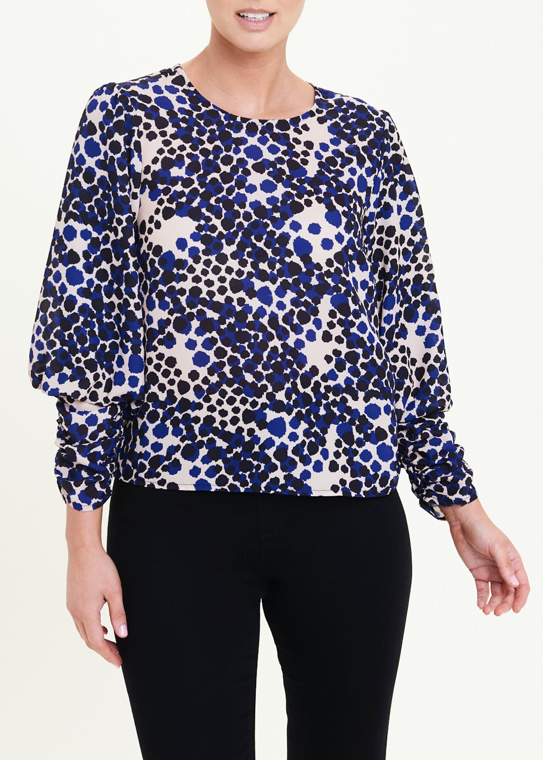 Soon Ruched Sleeve Abstract Animal Print Blouse