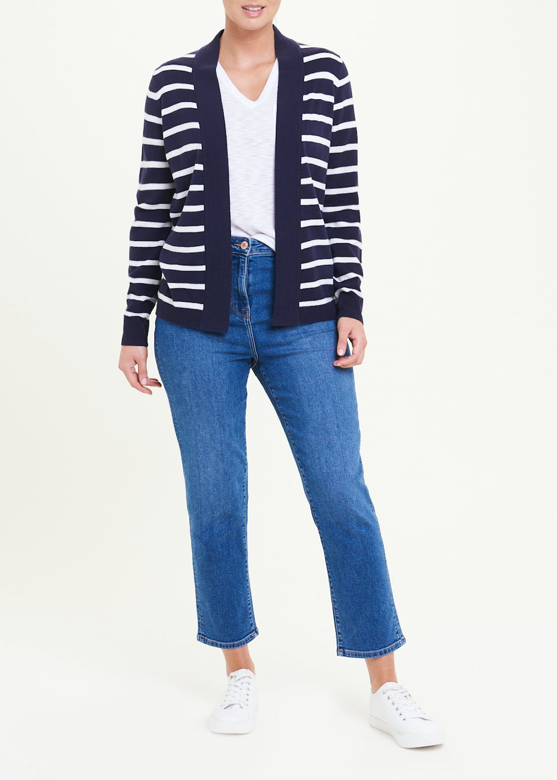Super Soft Stripe Open Front Cardigan