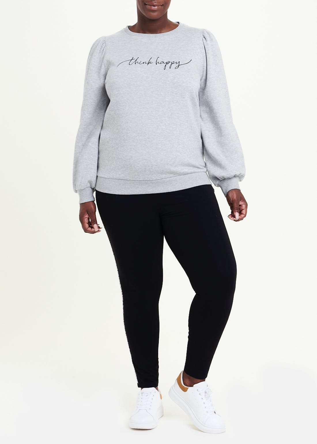 Papaya Curve Think Happy Slogan Sweatshirt