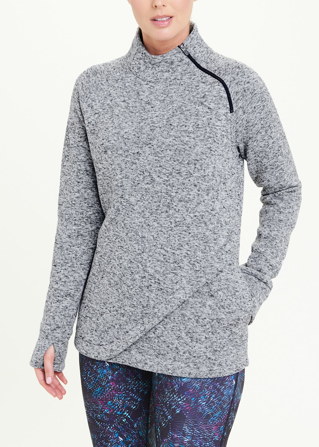 Souluxe Grey Fleece Sports Top